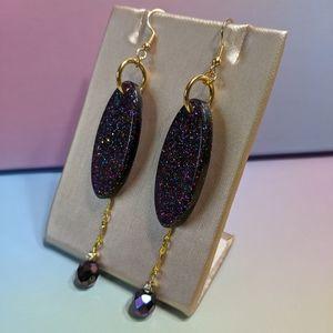 Oil Slick Glitter Resin & Beaded Dangle Earrings